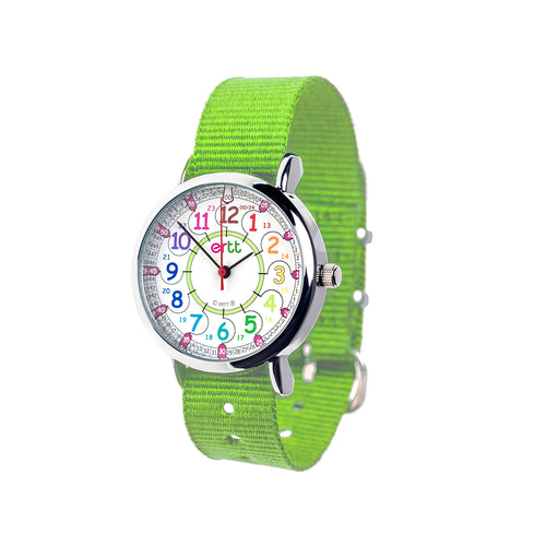 EasyRead Time Teacher 24 Hour Watch - Rainbow Face – Green Strap