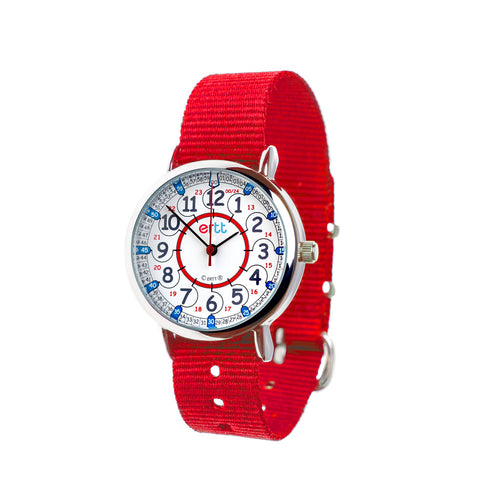 EasyRead Time Teacher 24 Hour Watch - Red & Blue Face – Red Strap