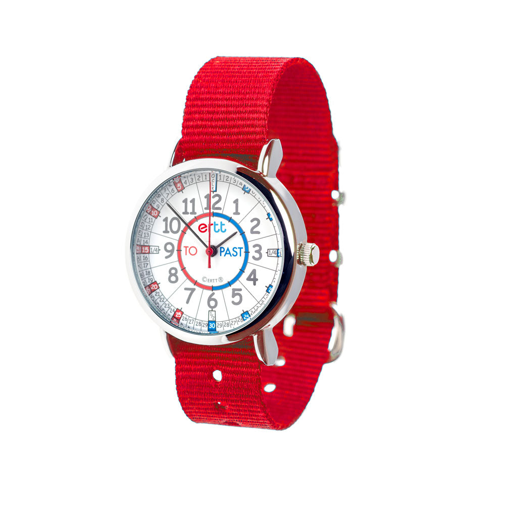 EasyRead Time Teacher Past & To Watch - Red & Blue Face – Red Strap