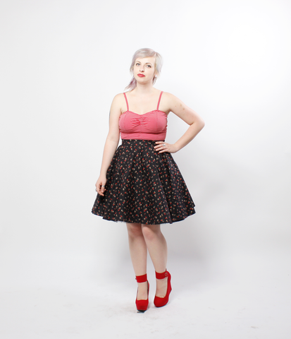 Black Floral Pinup Circle Skirt | Darla