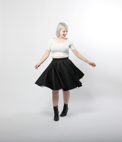 Black Pinup Circle Skirt | Helena