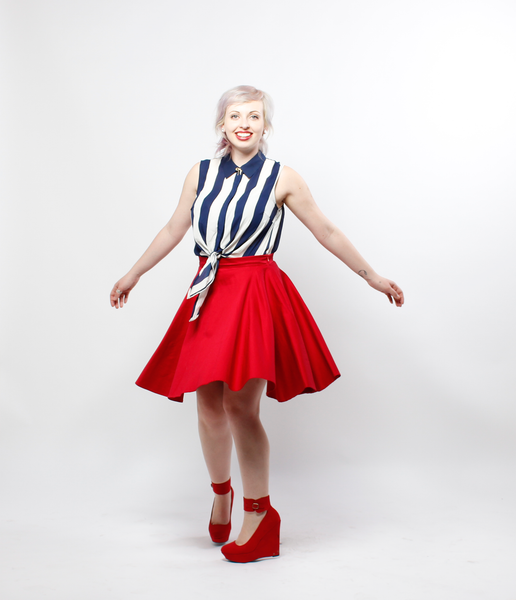 PREORDER • Red Pinup Circle Skirt | Ruby