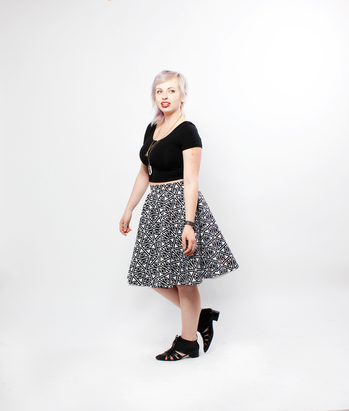 PREORDER • Circle Skirt in White and Black Eye Print | Maude