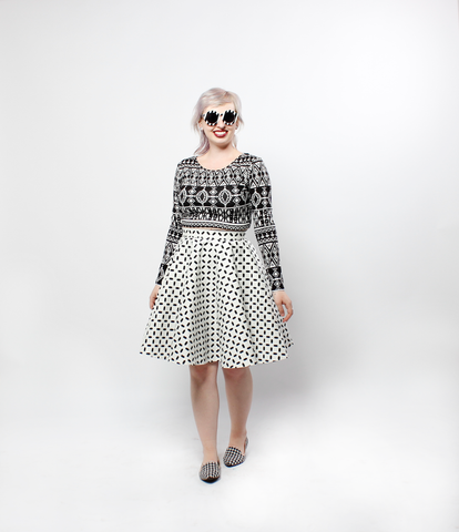Circle Skirt in White with Black Print | Jemina