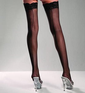 Lace top sheer thigh high black stockings