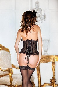 Black floral lace iCollection corset