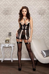 iCollection chemise set in champagne and black mesh