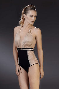 La Cavaliere Bodysuit in black and sand rose from Maison Close
