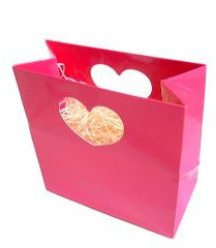 Pink gift bag with heart shape