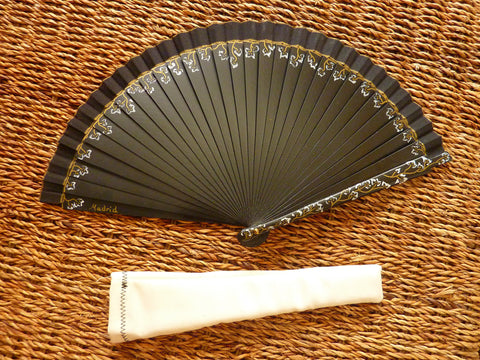 Spanish Handheld Fan (Spanish abanico) - Black floral design - Medineterranean