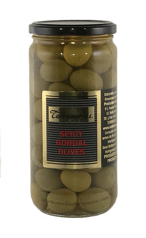 Torremar Whole Green Gordal Olives with Chili Pepper - Aceitunas Torremar