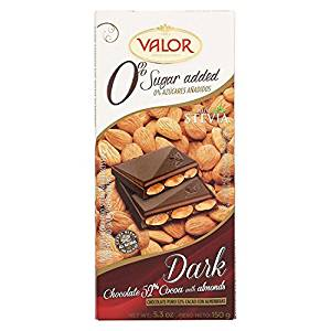 Valor Dark Chocolate with Almonds 0% Sugar Added - Valor