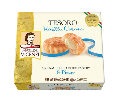 Vicenzi Tesoro Vanilla Cream Filled Puff Pastry - Vicenzi