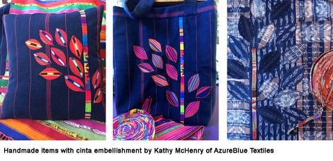 handmade items with handwoven cinta - azureblue textile