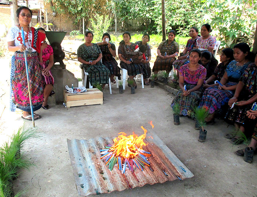 mayan tree ceremony with basket artisans