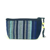 handwoven coin purse indigo and blues stripes
