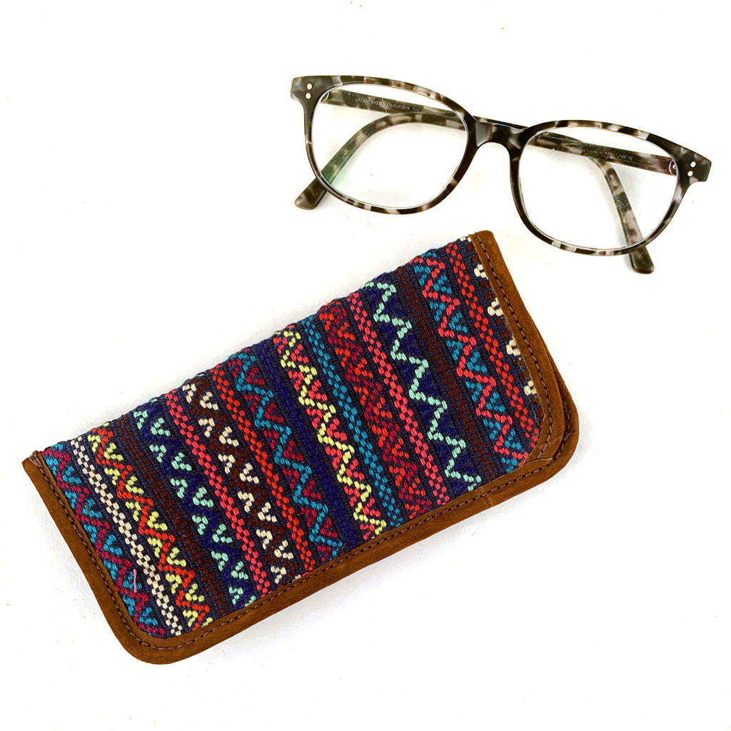 handwoven brocade eyeglass case navy multi-color | Mayan Hands