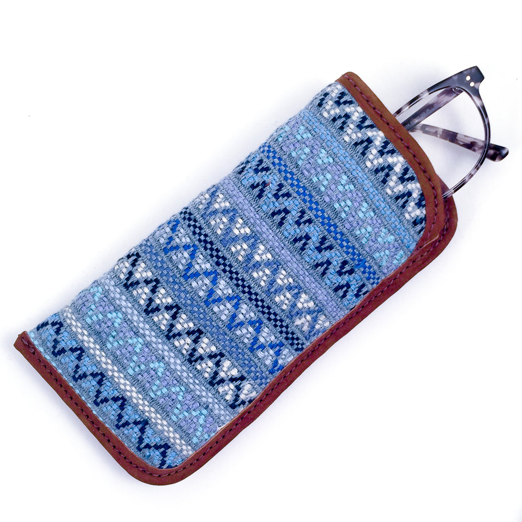 handwoven eyeglass case guatemala recycled denim
