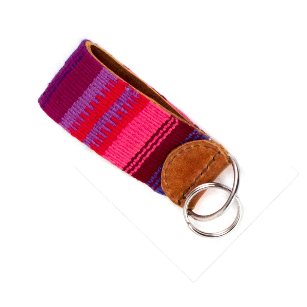 Handwoven Key Fob - pink and purple | Mayan Hands