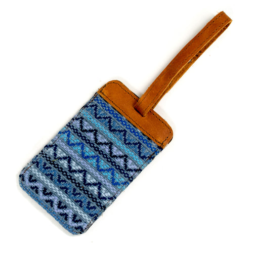 recycled denim brocade luggage tag with natural leather