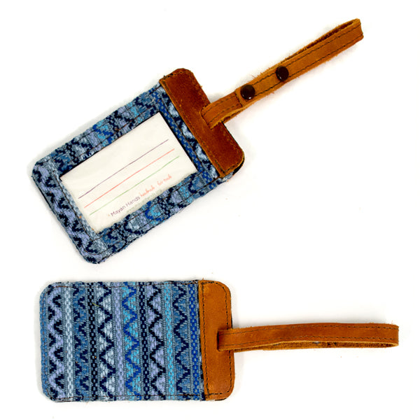 denim brocade luggage tags with leather