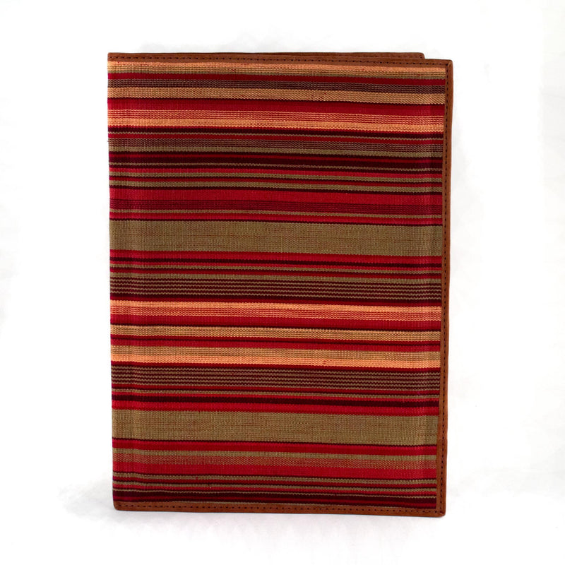 olive and brick striped notebook portfolio with brown leather trim