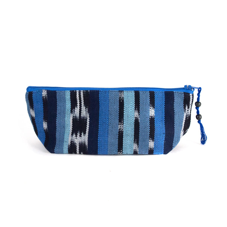 handwoven pencil case blue ikat