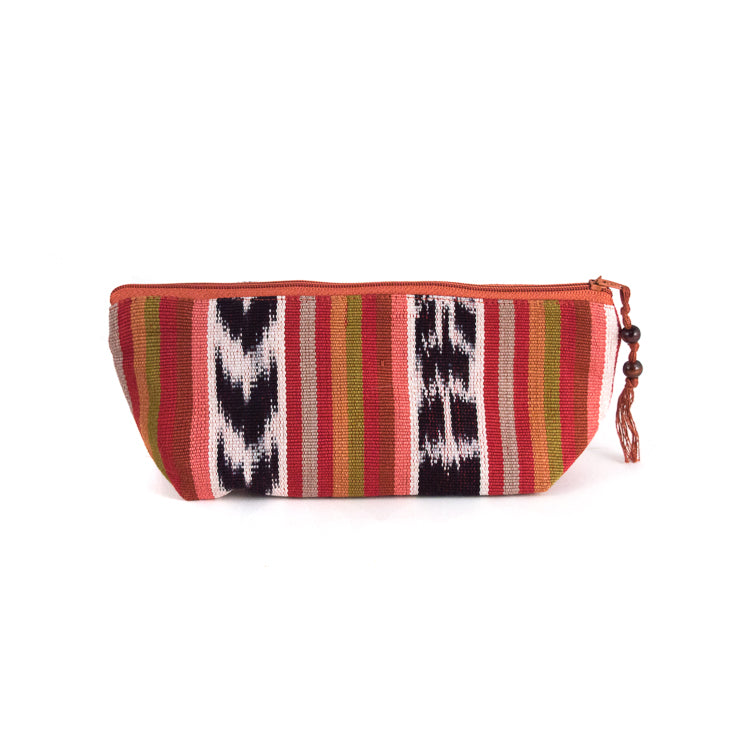 handwoven pencil case brown ikat