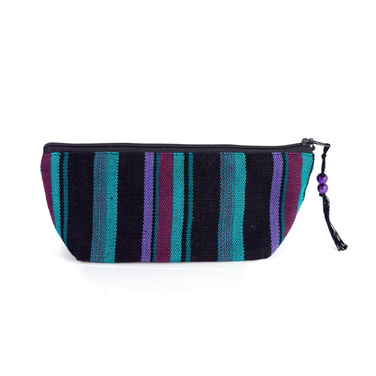 handwoven pencil case green purple black
