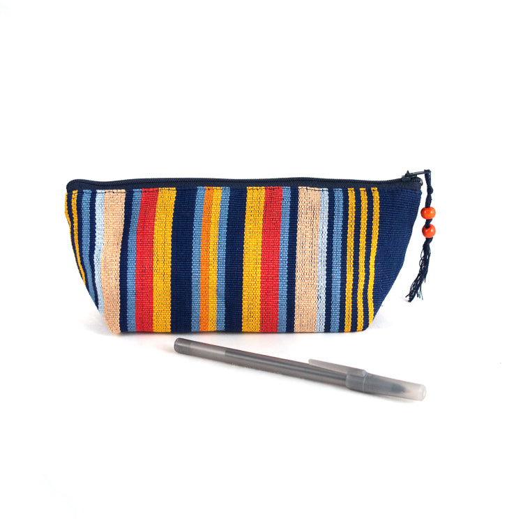 handwoven pencil case orange and blue