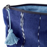 indigo clutch with tassel