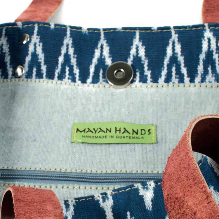 blue jaspe tote bag with recycled denim interior