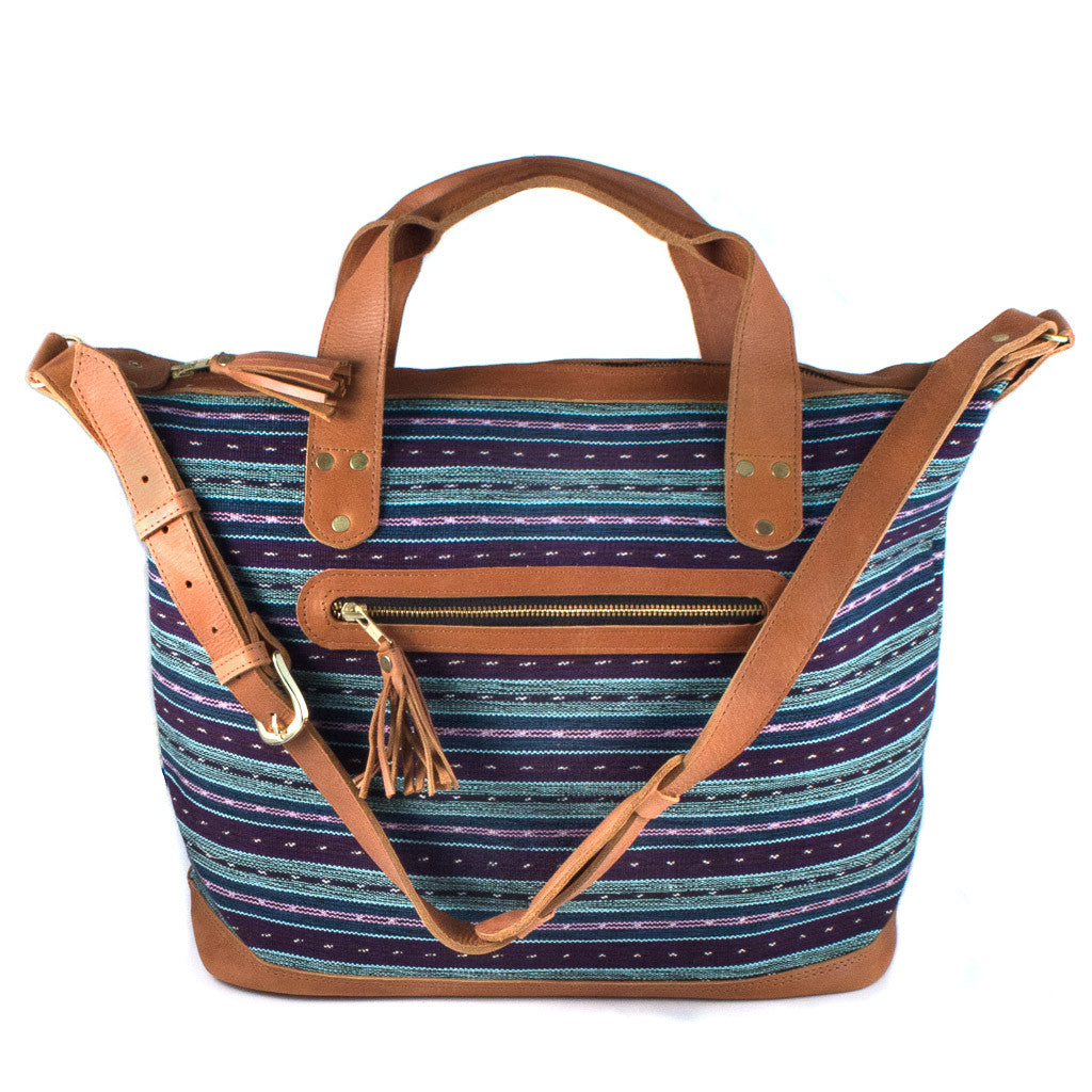 Handwoven Traveler Bag with Blue Stripes