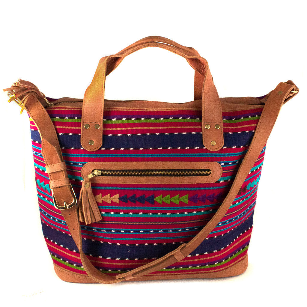 Guatemalan Traveler's Bag with Brocade Accent