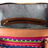 Traveler Bag interior with recycled denim lining