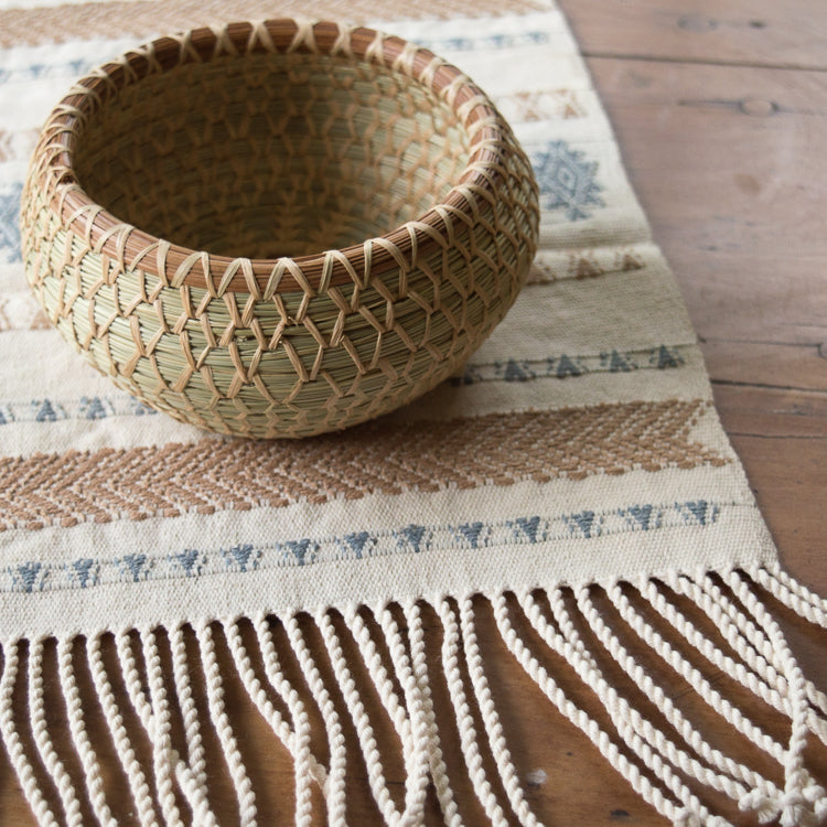 handwoven pine needle bowl basket