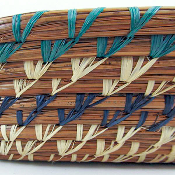 Square Pine Needle Basket with Blue Accent side detail