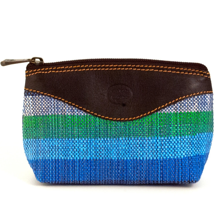 Recycled Plastic Cosmetic Bag with Leather Trim in blue and green