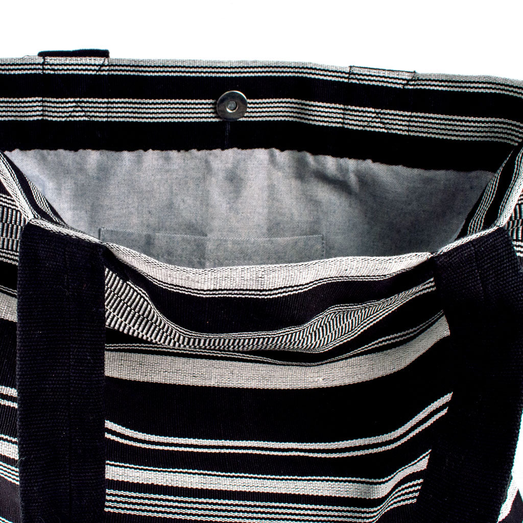 nella black and white tote bag with recycled denim lining