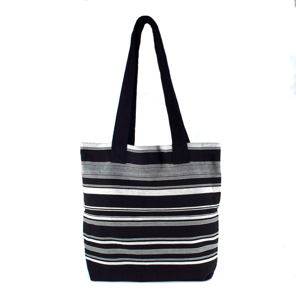 handwoven black and white striped tote bag