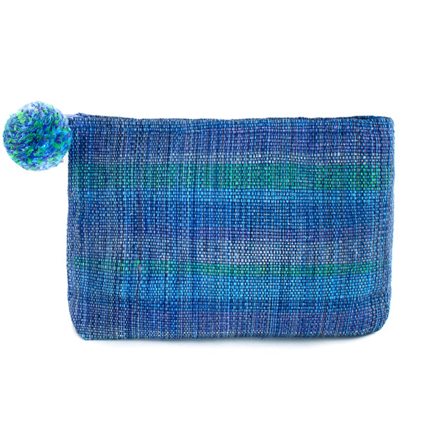 blue recycled plastic cosmetic clutch