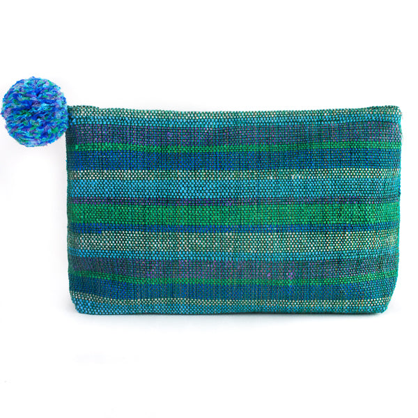 green recycled plastic clutch with pom pom
