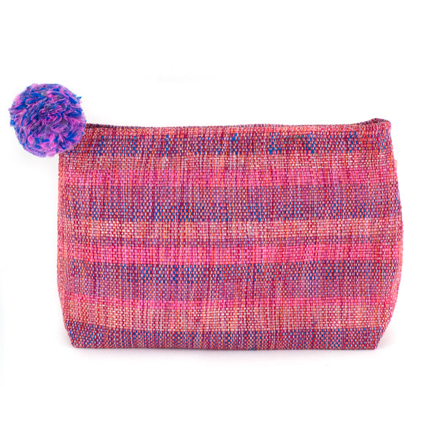 pink recycled plastic clutch