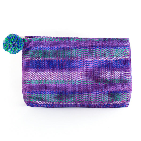large purple recycled plastic cosmetic clutch with pom pom