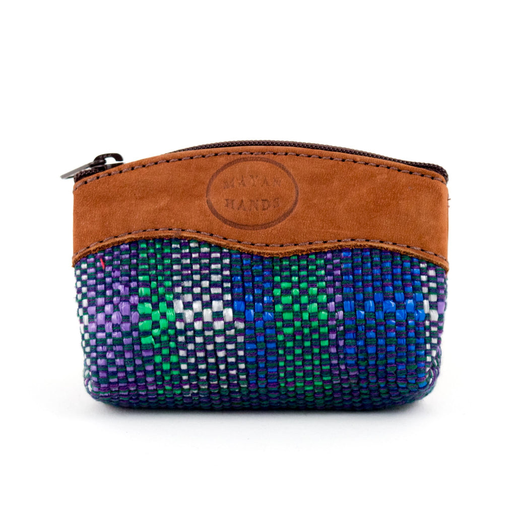 dark blue multi colored recycled plastic coin purse with brown leather