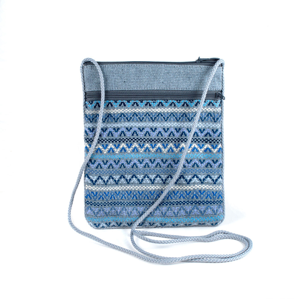 recycled denim brocade bag
