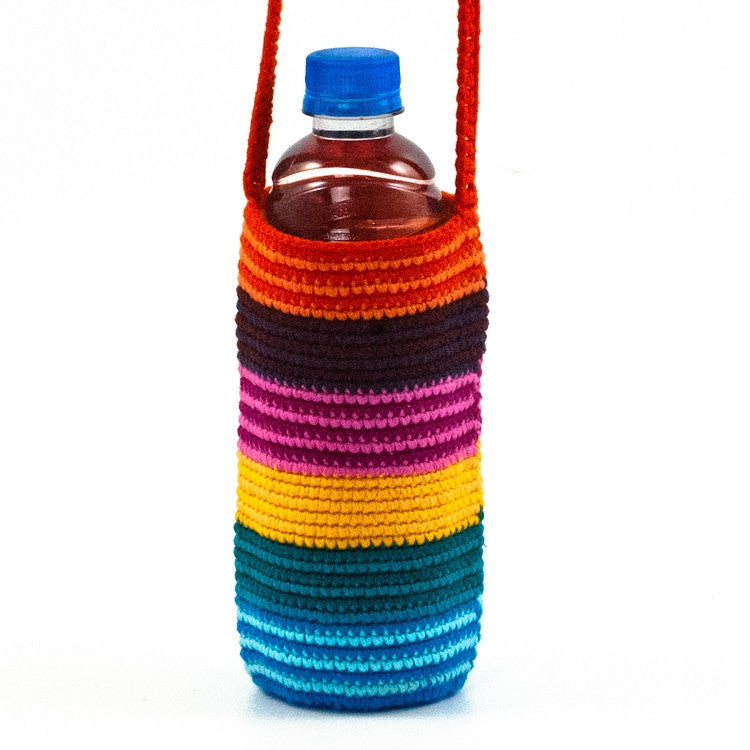 Crochet Bottle Bag with Stripes and bottle