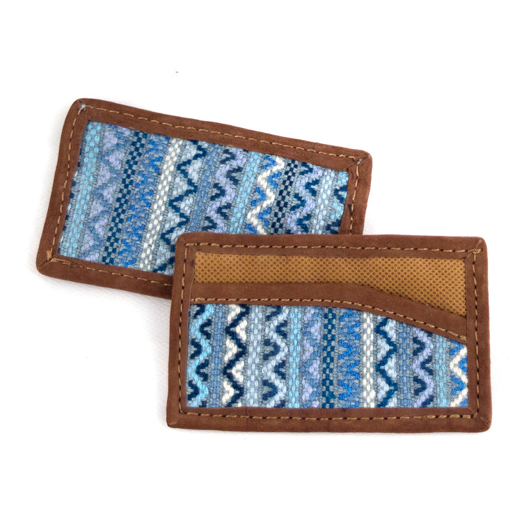 recycled denim brocade card holder with leather trim