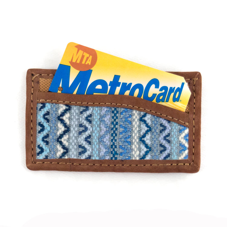 santiago brocade card holder in blue