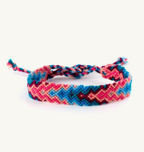 handwoven teal and coral arrow bracelet